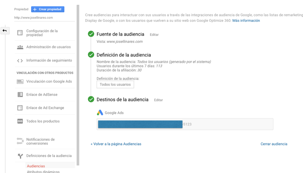 Audiencias Google Analytics